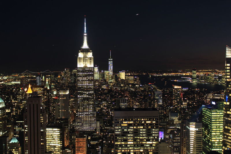 Architecture City Cityscape Lights On New York New York At Night New York City Night Outdoors Sky Skyline Skyline At Night Skyscraper Tower Travel Destinations