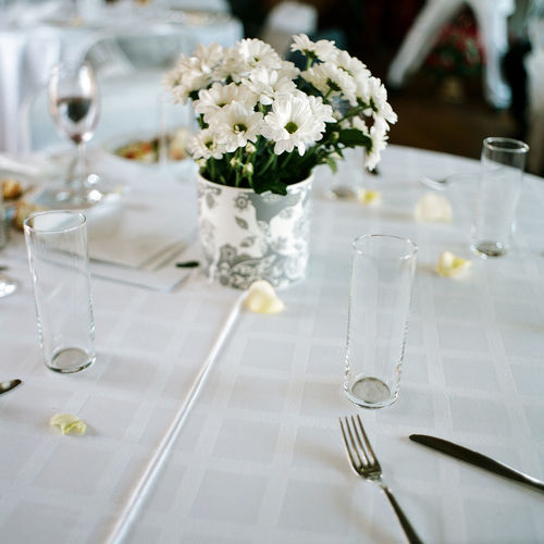 Place setting on elegant dining table
