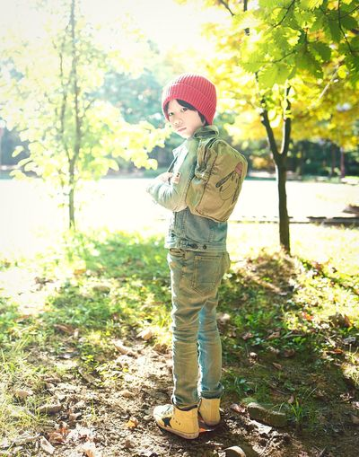 Childhood Standing Knit Hat One Person Casual Clothing Full Length People Children Only Child Day One Boy Only Portrait Outdoors Tree Looking At Camera Nature Adult Red Redhead Redhat Blueblueblue