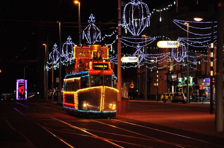 Blackpool Promenade Christmas Christmas Decoration Christmas Lights City Street Coastal Town Illuminated Illumination Night Night Lights Nightphotography Outdoors Travel Destinations