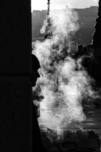 The Nut Seller Steam Streetphotography Streetphoto_bw LONDON❤ London Malephotographerofthemonth Street Photography Blackandwhite The Street Photographer - 2018 EyeEm Awards City Smoke - Physical Structure Sky