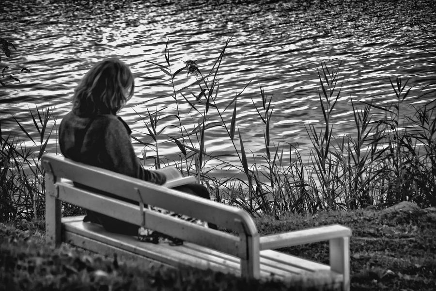 Timeout At The Park Autumn Black & White Black And White Blackandwhite Bw BW Collection Bw_collection Idyllic Idyllic Scenery Leisure Time Lonely Monochrome Monochrome Photography Outdoor Photography Outside Photography People Of EyeEm People Photography Reading A Book Seascape Seatbench Sitting In The Park Sitting On A Bench Sitting Outside Woman