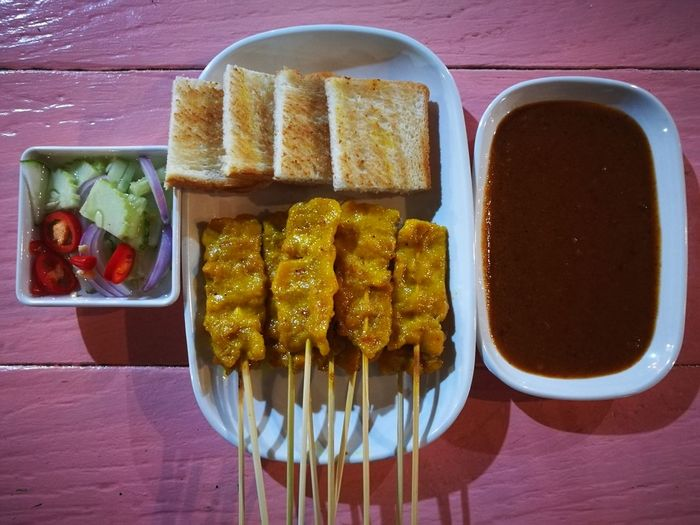 Moo Sate Food And Drink Food Table Directly Above Ready-to-eat Breakfast Bread No People Plate Serving Size Freshness Healthy Eating Indoors  Day Toasted Bread