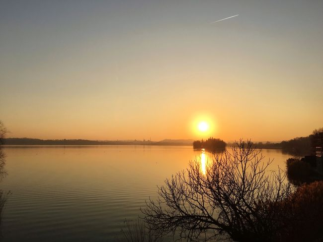 Sunset over Pusiano lake Beauty In Nature Sun Sunset Tranquil Scene Water Reflection Sky Idyllic No People Silhouette Tree Outdoors Nature Lake Scenics Landscape From My Point Of View in Brianza
