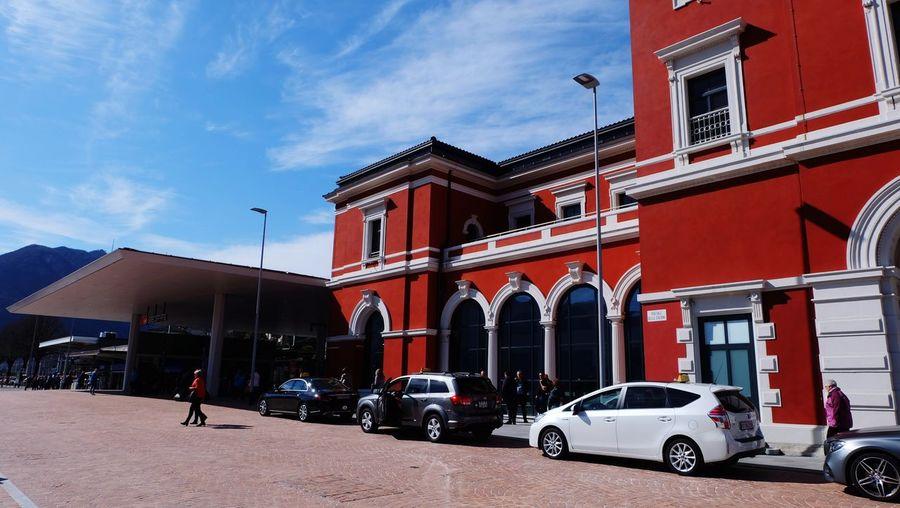 Travel Lugano Bahnhof City Red Car Politics And Government Sky Architecture Building Exterior