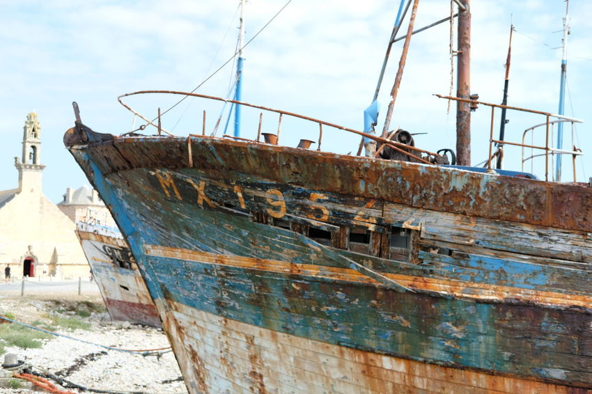 Abandoned Architecture Day Deterioration Fishing Boat Incidental People Metal Mode Of Transportation Moored Nature Nautical Vessel Old Outdoors Rusty Sea Ship Sky Transportation Travel Water