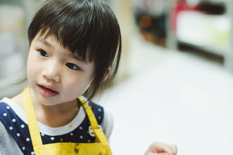 Casual Clothing Child Childhood Close-up Cute Focus On Foreground Front View Hair Hairstyle Headshot Indoors  Innocence Looking Looking Away One Person Portrait Real People