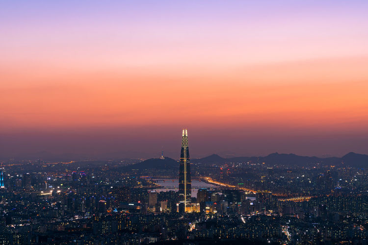 ASIA Beautiful City Cityscape Clear Sky Cool High-rise Building Korea Light Magic Hour Night Views Northeast Asia Road Building City Lights Clean Fancy Mountain Night View Night View Of City Republic Of Korea EyeEm Ready   EyeEmNewHere