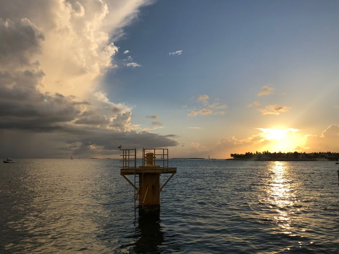 Sunset at the edge of the world Key West Sailboat Sunset Silhouettes Mallory Square Sky Water Cloud - Sky Sunset Beauty In Nature Scenics - Nature Sea Waterfront Tranquil Scene Tranquility Nature Architecture No People Rippled Idyllic Built Structure Pier Reflection Horizon