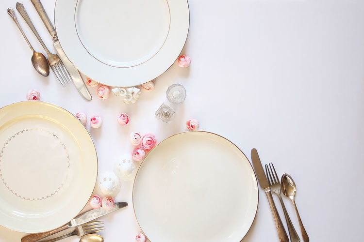 Wedding reception Celebration Copy Space Dishes Eating Food And Drink Meal Reception Table Setting Wedding Anniversary Backgrounds Blush Pink Close Up Concept Decoration Festive Flat Lay Floral Marriage  No People Ranunculus Styled Table View From Above Vintage