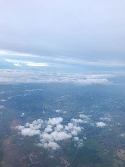 เมฆฝน Nature Beauty In Nature Scenics Aerial View Tranquility Cloud - Sky Tranquil Scene Sky No People Outdoors Day Landscape Sea Water Blue Airplane Wing View From An Airplane