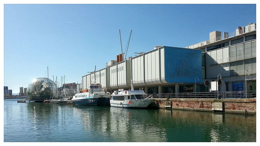 Acquario Di Genova Porto Antico, Genova Porto Harbor Clear Sky Transportation Architecture Building Exterior Built Structure Sky Outdoors Nautical Vessel Water Day No People City Sailboat Biosphere Smartphone Photography Note 2. Edited with EyeEm Filter
