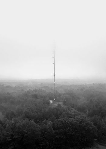 Fog Nature Day No People Outdoors Sky Forest Black & White Photography EyeEm Best Shots Cellphone Photography Tower Cellphone Tower
