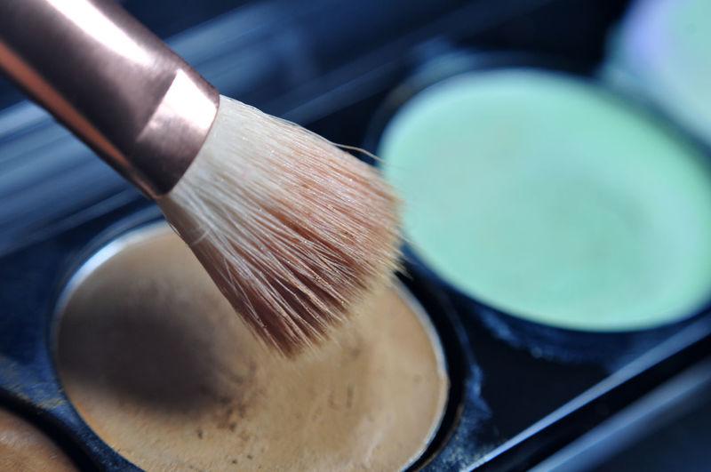 Close-Up Of Make-Up Brusk On Cream