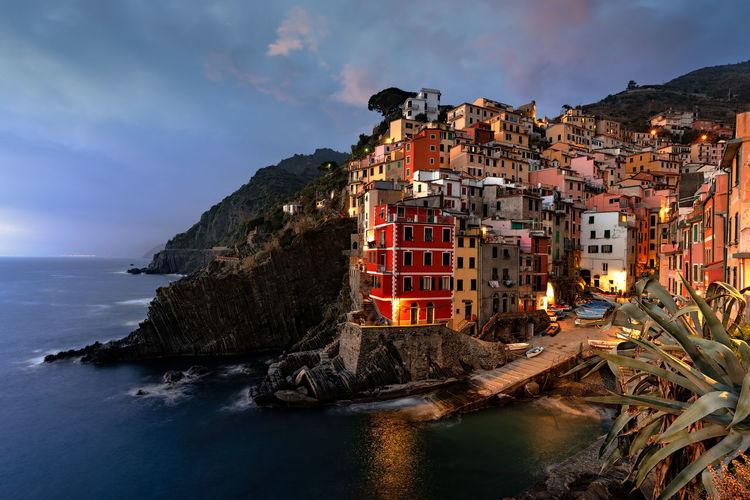 Water Sea Sky Rock Seascape Riomaggiore Cinque Terre Cinqueterre Italy Italia Village Boat Clouds Mediterranean  Liguria Mountains
