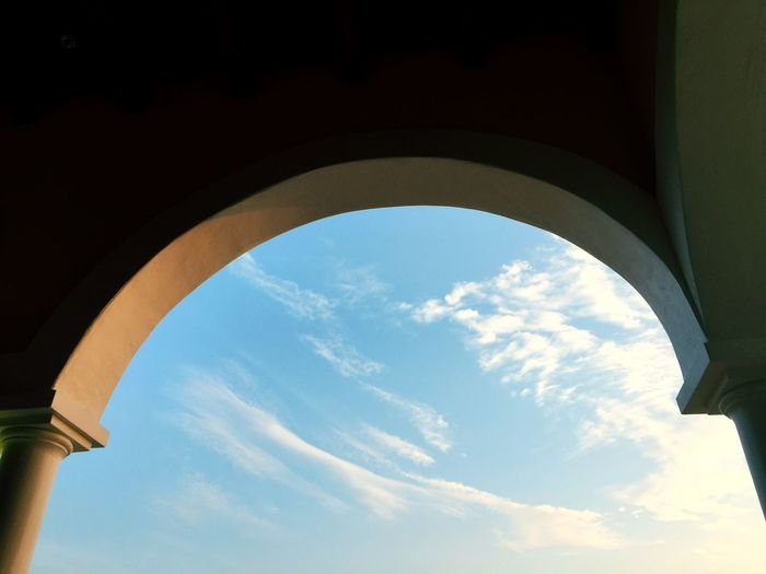 Arch Blue Design Crop  Curve Shapes And Forms Shape Form EyeEm Selects Low Angle View Arch Architecture Sky Cloud - Sky Day Built Structure Indoors  No People