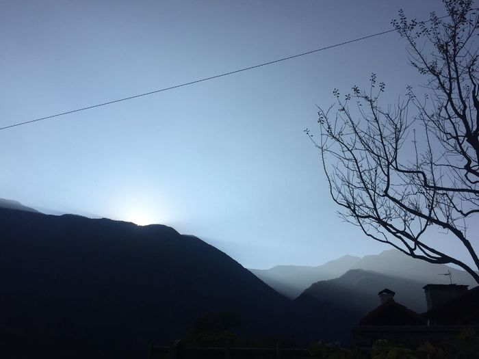 Sunset on October 4th in the Vallemaggia, Tessin, scenic Mountain Beauty In Nature Silhouette Clear Sky No People Outdoors
