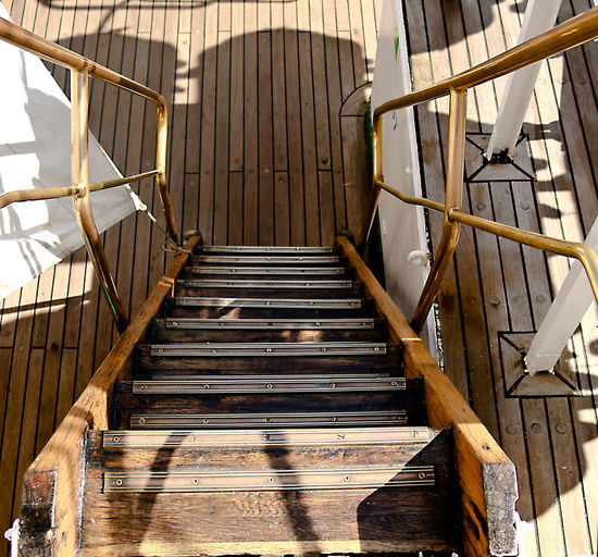 Stairs Tall Ships Brass Companionway High Angle View Rigging Sailing Sea Steps Tall Ship Details Wood - Material »double Pollard