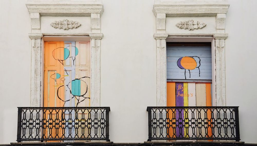 Colour up your Life Balcony Doors Painted Facade Detail Façade Happy Colors Graffitti Multicolored White Colorful Balconies Built Structure No People Day Door Architecture Building Exterior Outdoors Close-up The Architect - 2018 EyeEm Awards