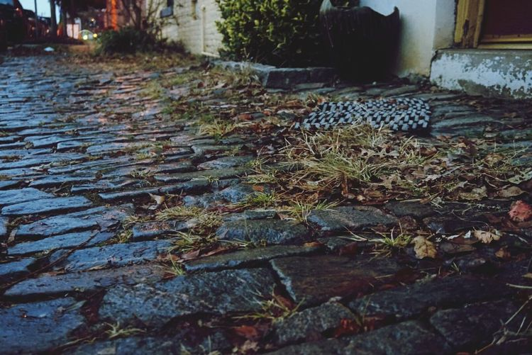 Cobblestone Sidewalk Ground Gloomy