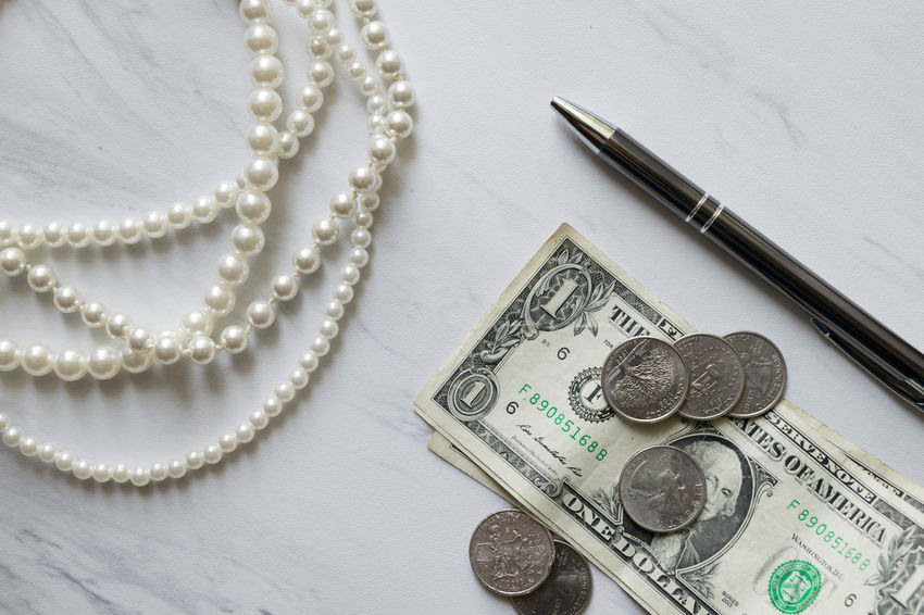 Elegant Green Money Money Money Sophisticated Work Class Close-up Currency Day Finance Indoors  Marble Money No People Paper Currency Pearls Pen Sophistication Table Texture Wealth