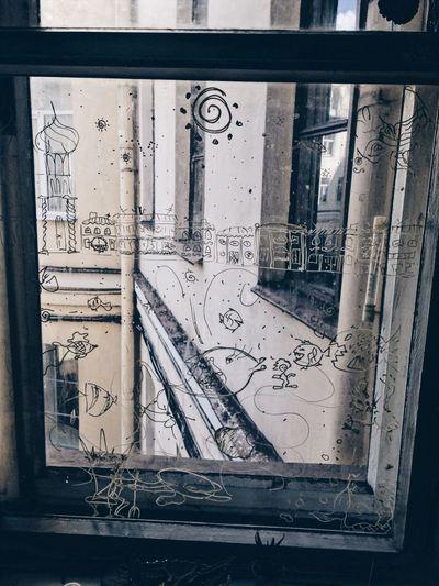 Graffiti Window Built Structure Architecture No People Close-up Day Feeling Art VSCO Vscocam Saint Petersburg Spb Санкт-Петербург окно окнодвора Питер искусство