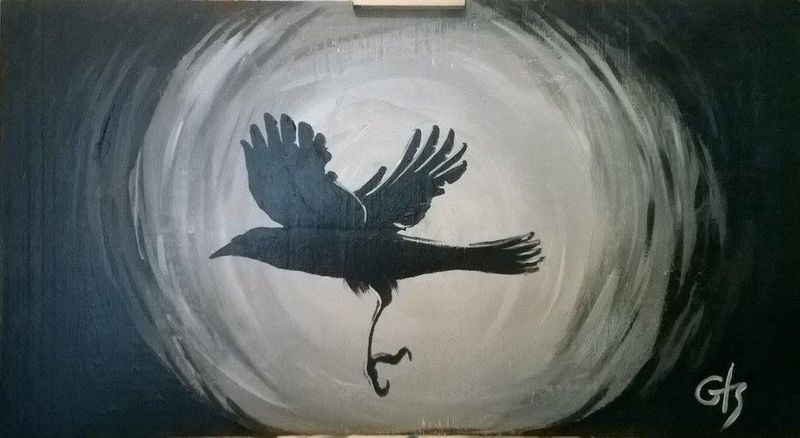 Shadow No People Painter - Artist Acrylic Paint crow raven Animal Themes Acrylic Painting
