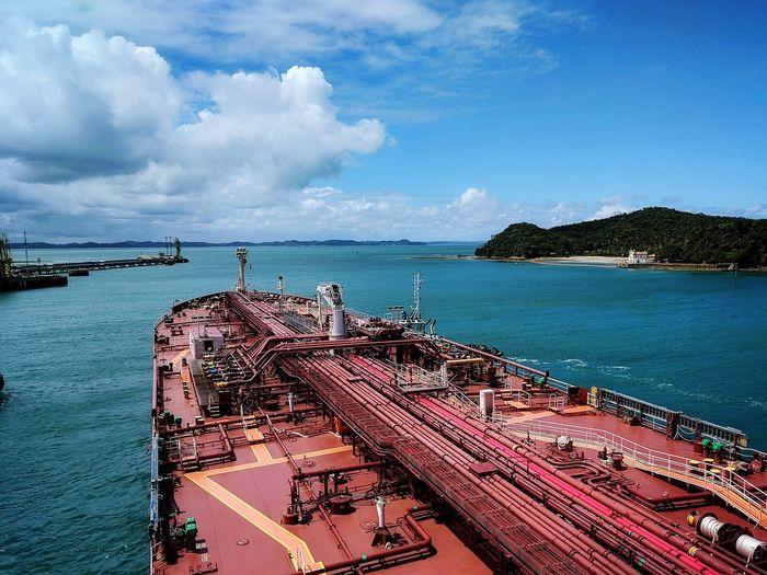 Nautical Theme Cargo Ship Life Onboard Oil Terminal Tanker Ship Water Sea Nautical Vessel Sailing Ship Beach Sand Sky