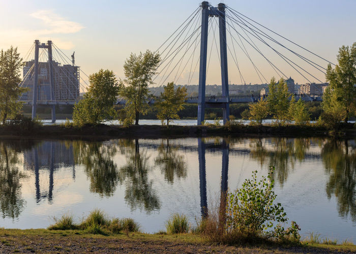 Krasnoyarsk Architecture Bridge Bridge - Man Made Structure Building Exterior Built Structure Connection No People Outdoors Reflection River Siberia Sky Tree Water Waterfront