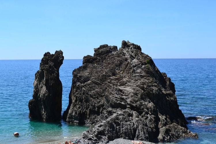 Sea Water Sky Rock Beauty In Nature Horizon Over Water Horizon Scenics - Nature Rock - Object Solid Clear Sky Tranquil Scene Nature Tranquility Blue Land Rock Formation No People Day Outdoors Stack Rock Eroded Italy Monterosso Al Mare