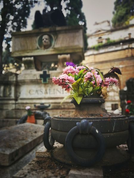 Tombstone Cemetery Tombstone Death Monument Rome Verano Italy Historic Christianity No People Outdoors Close-up Freshness