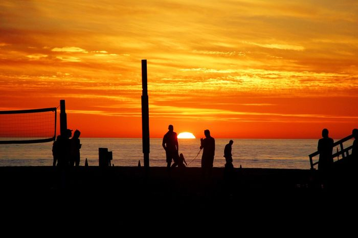 """People Of The Oceans Hermosa Beach Sunset Pacific Ocean Southern California Orange Sky """"We watch the sunset each evening, knowing that it will rise again tomorrow. To remind us, each day is a fresh start"""" -Beach Couple"""