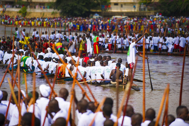 Annual boat race on the Ubangi River in Bangui, Central African Republic. Adult Adults Only Army Bangui Central African Republic Crowd Day Event Large Group Of People Lifestyles Men Outdoors People Real People Water Women