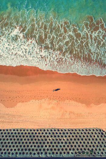Scenic view of sea shore in desert