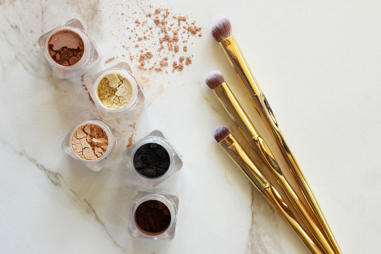"""The """"eyes"""" have it Artist Copy Space Eyeshadow Fashion Gold Neutral Colors Shades Above Backgrounds Beauty Brushes Concept Cosmetic Cosmetology Eyes Glamour Loose Luxury Make Up Marble Metallic Mineral Palette Powder Product"""
