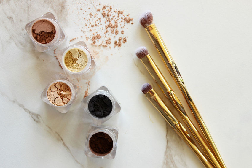 "The ""eyes"" have it Artist Copy Space Eyeshadow Fashion Gold Neutral Colors Shades Above Backgrounds Beauty Brushes Concept Cosmetic Cosmetology Eyes Glamour Loose Luxury Make Up Marble Metallic Mineral Palette Powder Product"