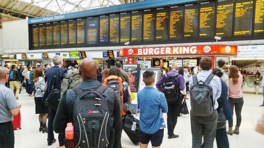 Railway Station Waiting ... Train Times Travellers Rail Travel  Victoria London Starting A Trip