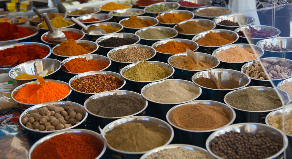 High Angle View Of Spices For Sale In Shop