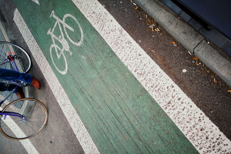 Urban Perspectives Point Of View Stories From The City Lifestyles Urban Urban Life City Road Sign Bicycle Lane Road Bicycle Stationary Land Vehicle Low Section Cycling Street Directional Sign Information One Way Information Sign Visual Creativity Summer Road Tripping #urbanana: The Urban Playground 17.62°