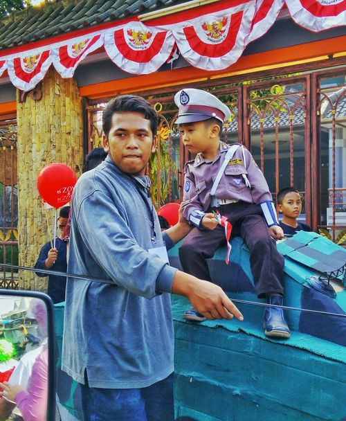 Police Kid INDONESIA Taking Photos This Moment Independent Days