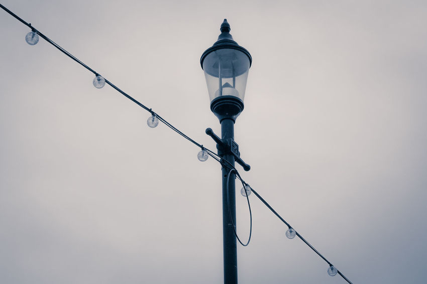 Connection Electricity  Grey Sky Hanging Lampost Lighting Equipment Lights Low Angle View Metal Metallic Pole Street Light Technology
