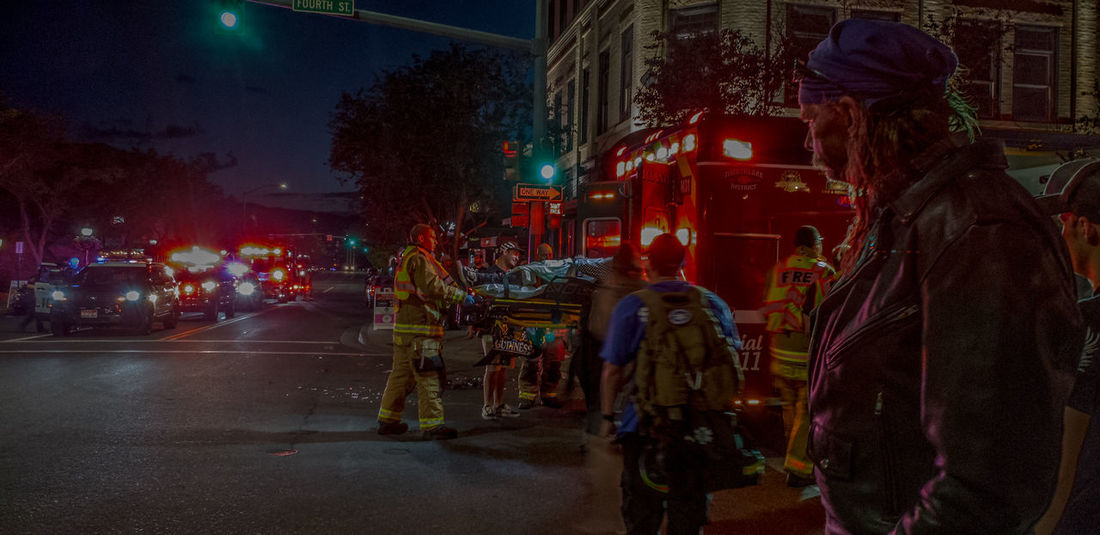 Triage Emt Emergency Vehicle Lights Fire Department One Way Guinness In Action Samsung S9+ Cellphone Photography Accident Wreck Crash Emergency Emergency Vehicles 911 Cops Coeur D'Alene Downtown One Way City Illuminated The Street Photographer - 2018 EyeEm Awards The Photojournalist - 2018 EyeEm Awards The Portraitist - 2018 EyeEm Awards
