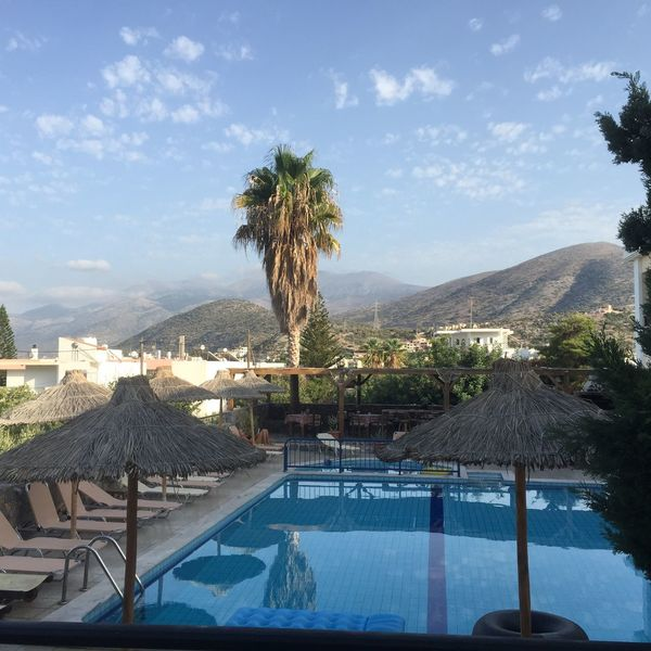Clouds And Sky Crete Swimming Pool Palm Trees Summertime Sunny Day Blue Sky Tranquil Scene Mountains Found On The Roll