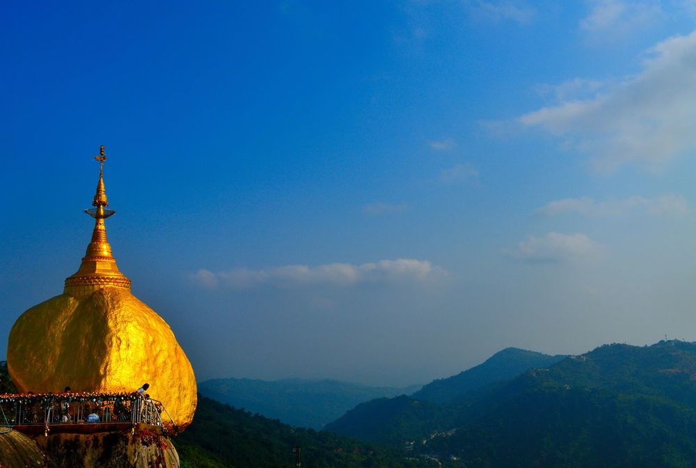 Beauty In Nature Belief Blue Sky Buddha Contrast Eye Em Nature Lover EyeEm Gold Gold And Blue Golden Rock Great Views Myanmar Mystic Nature Pagoda Religion Religious Architecture Rock Sunlight Temple Travel Travelling View