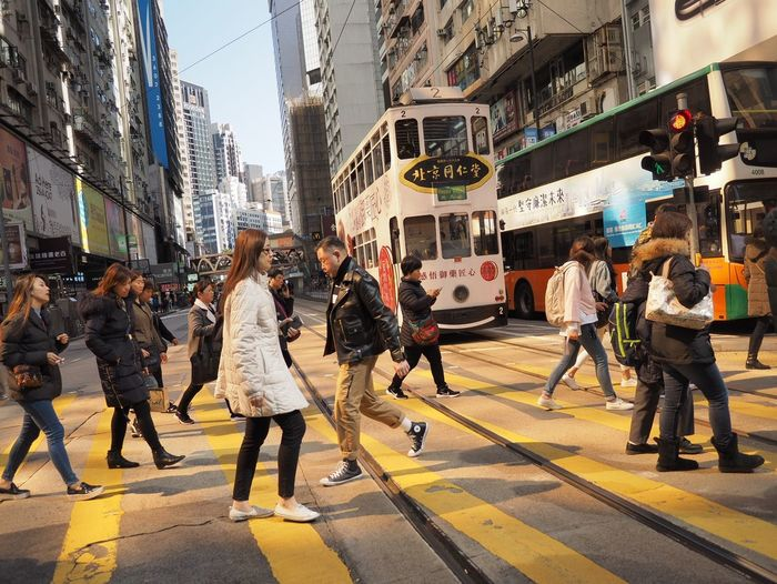 A Cross The Yellow Line. Causeway Bay Hongkong City Life Street Large Group Of People Adult