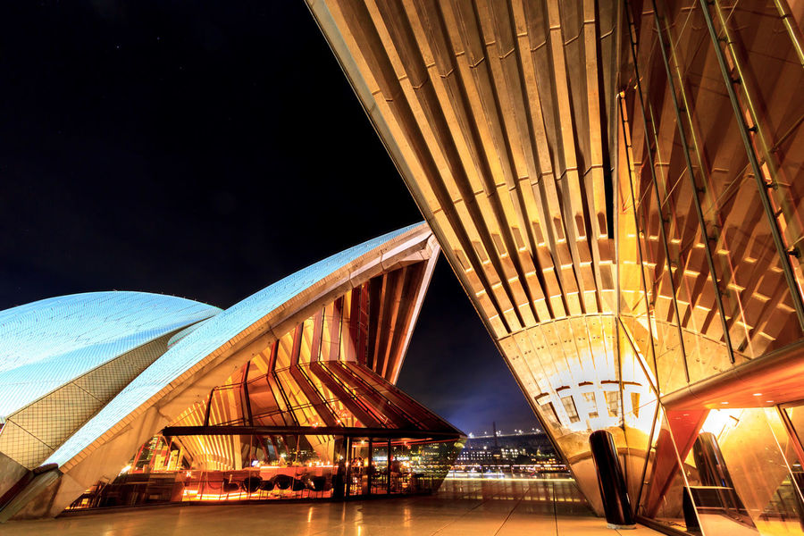 Night shot of the Sydney Opera House from the side, facing the city Modern Architecture Sydney Opera House Architecture Building Exterior Built Structure Illuminated Indoors  Modern Night No People Sail Sky