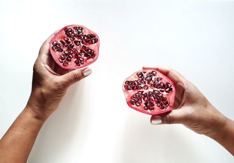 Photooftheday Picoftheday Fruit Red Healthy Eating Healthy Food Health The Week on EyeEm Holding Holding Hands Human Hand Red Holding Love Heart Shape Close-up Sweet Food Personal Perspective Pomegranate Pomegranate Seed Tropical Fruit