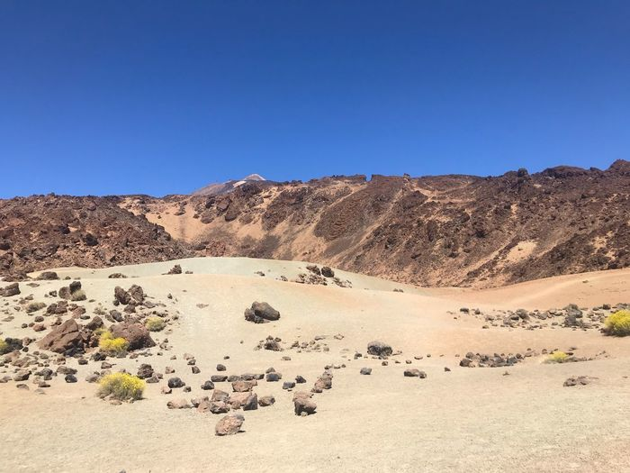 Teide National Park Tenerife Volcanic Landscape Volcano EyeEm Selects Sky Clear Sky Land Copy Space Tranquility Nature Environment Day Beauty In Nature Tranquil Scene Scenics - Nature Blue Sunlight Sand Desert Landscape Outdoors Non-urban Scene No People Idyllic