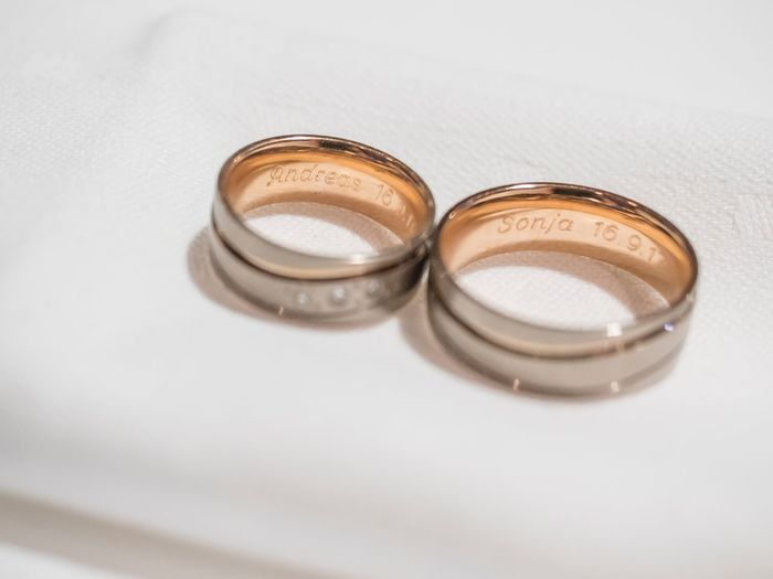 Sonja Andreas Wedding Ring Wedding Ring No People High Angle View Table Indoors  Close-up White Background
