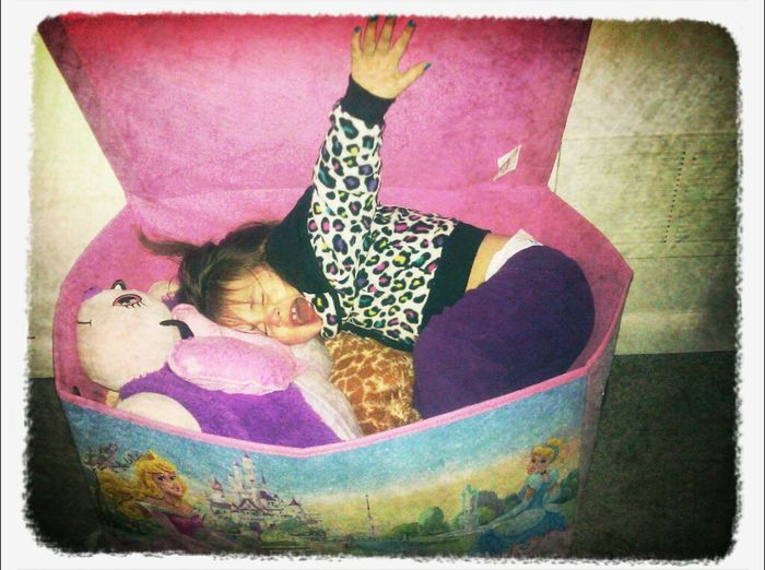 Oh just hanging out in my toy box :) Being Silly Silly Baby